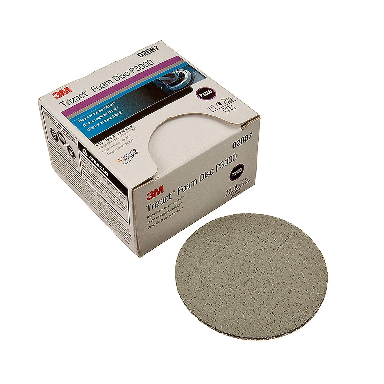 3M Trizact Hookit Foam Disc, 02087, 3 in, P3000, 15 discs per carton