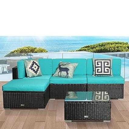 amazon com luckwind patio conversation sectional sofa chair table rh amazon com