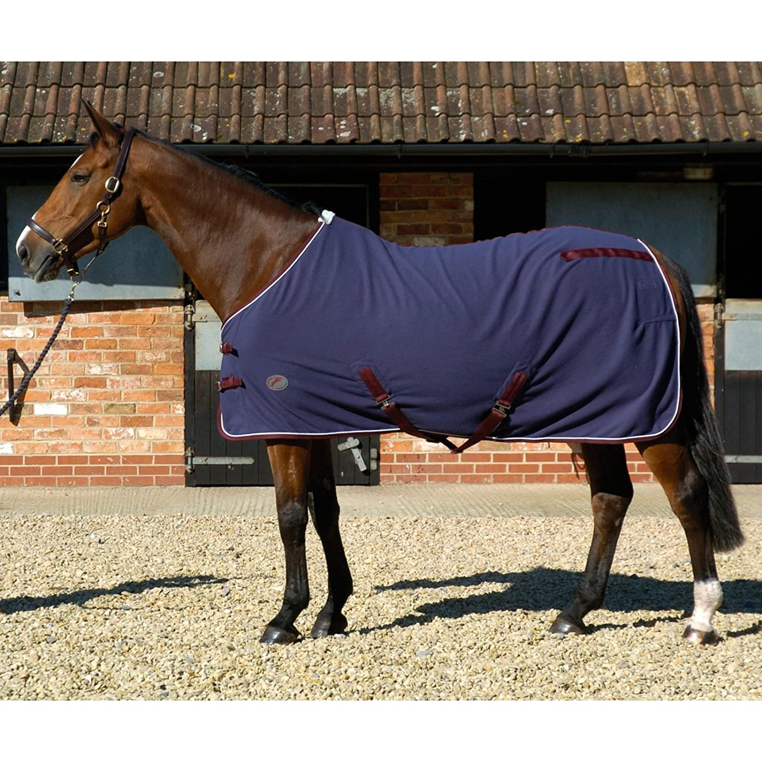 7'0\ Tigerbox® JHL Fleece Horse Rug Navy Burgundy White (7' 0 ) and Antibacterial Pen