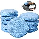 """Advgears Microfiber Wax Applicator Wax Applicator Polishing Pads With Finger Pocket Foam Sponge Polisher Micorfiber Waxer Applicators Polishing Wax Pads (10 Pcs/set, 5"""", Blue)"""