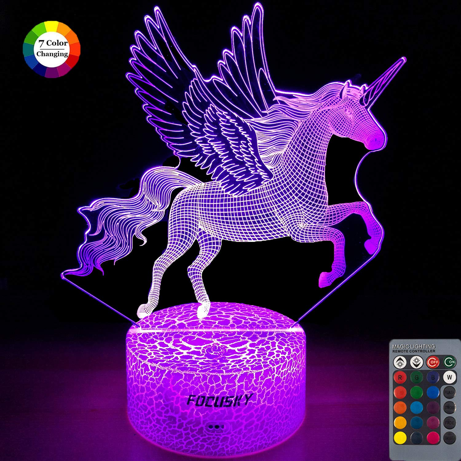 Focusky Unicorn Night Light for Kids,Dimmable LED Nightlight Bedside Lamp,16 Colors+7 Colors Changing,Touch&Remote Control,Best Unicorn Toys Birthday Christmas Gifts for Girls Boys by Focusky