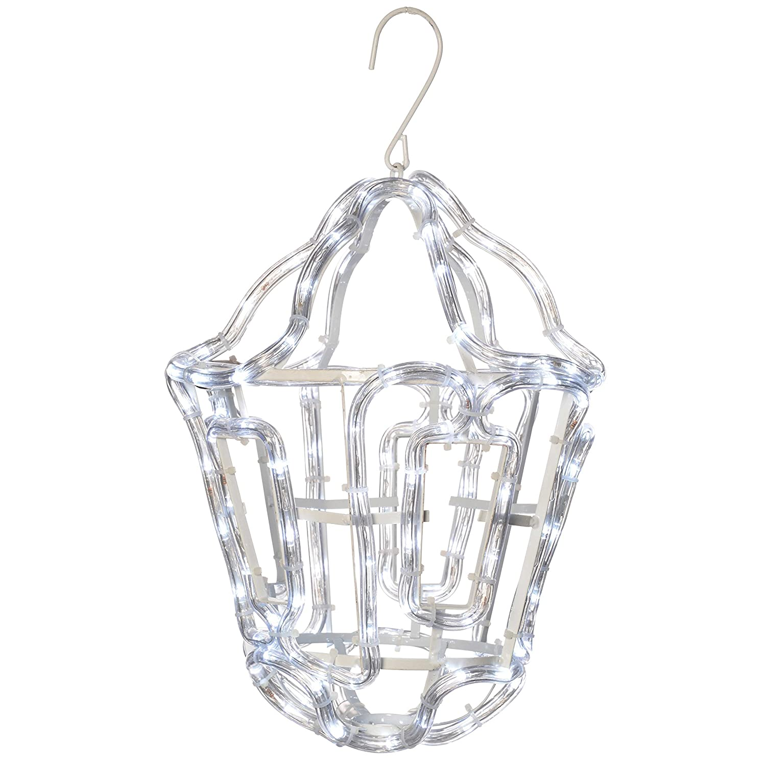 WeRChristmas Hanging Lantern Rope Light Silhouette Outdoor Garden Wall Christmas Decoration with White LED, 36 cm - Yellow WRC-5026