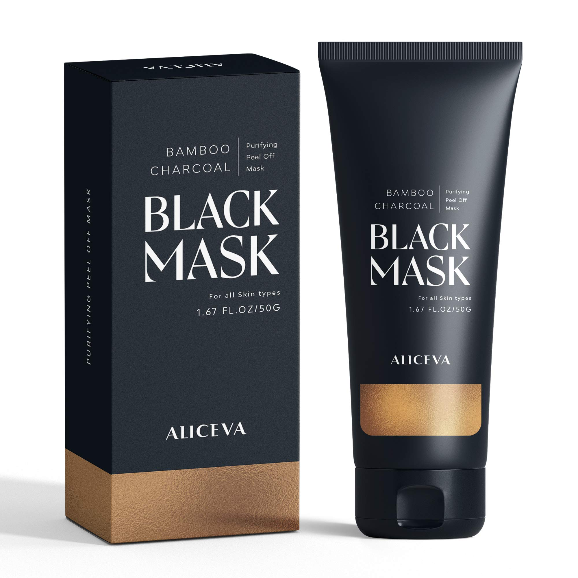 Aliceva Black Mask, Blackhead Remover Mask, Charcoal Peel Off Mask, Charcoal Mask, Charcoal Face Mask for All Skin Types with Brush - 50 Gram Pack