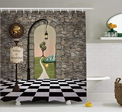 Ambesonne Alice In Wonderland Decorations Shower Curtain Set Welcome Black And White Floor Tree