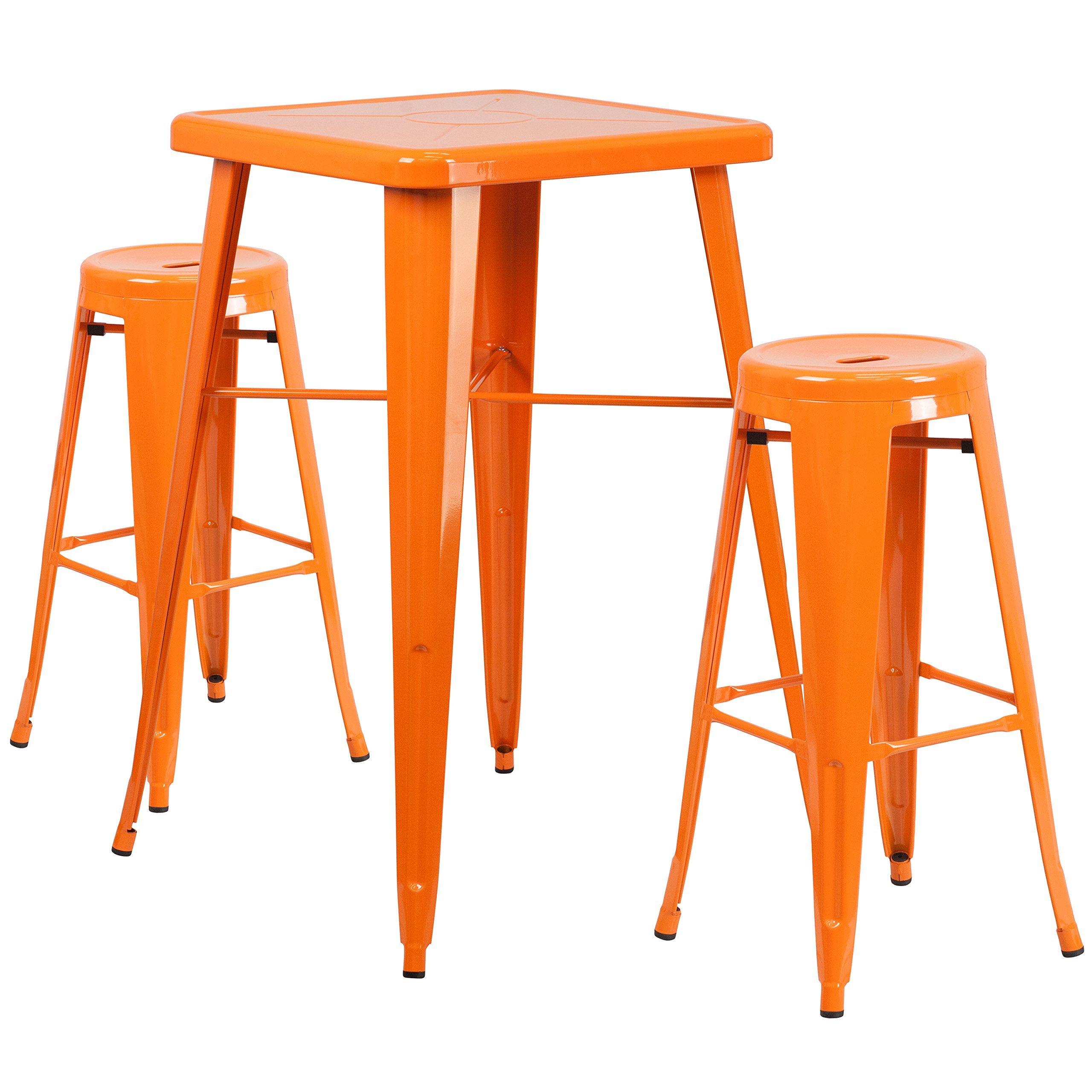 Flash Furniture 23.75'' Square Orange Metal Indoor-Outdoor Bar Table Set with 2 Round Seat Backless Barstools