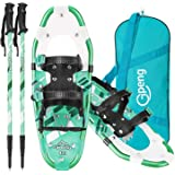 Gpeng 3-in-1 Lightweight Snowshoes Set for Women Youth Kids, Aluminum Terrain Snow Shoes with Trekking Poles and Carrying Tot