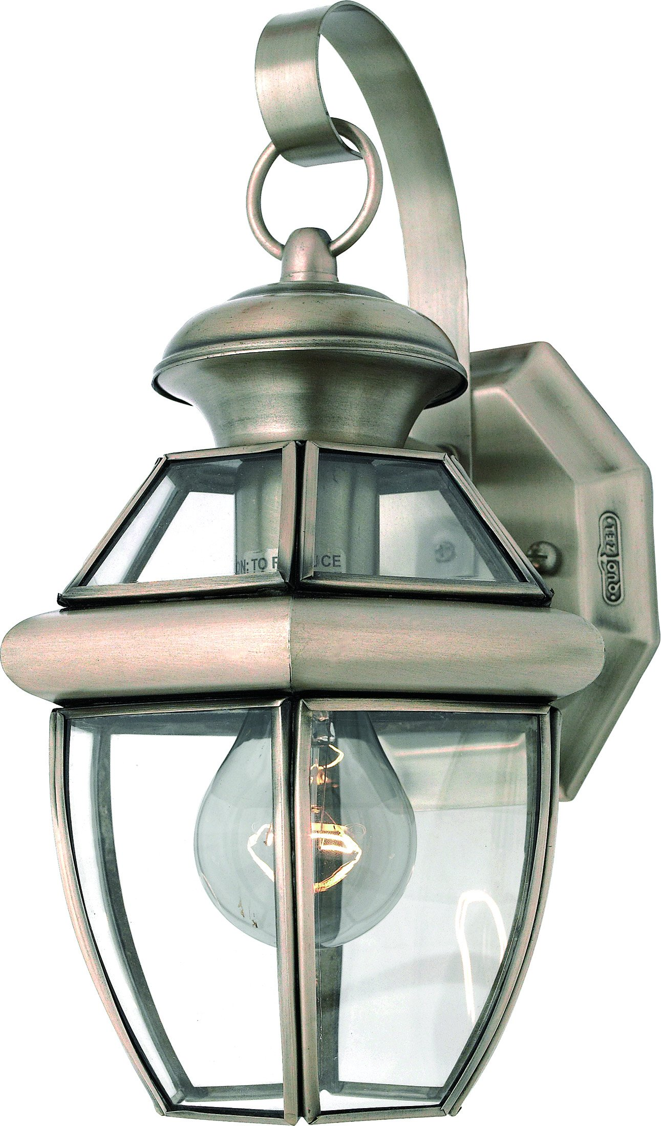 Luxury Colonial Outdoor Wall Light, Small Size: 11.5'' H x 7'' W, with Tudor Style Elements, Versatile Design, Classy Aged Silver Finish and Beveled Glass, UQL1141 by Urban Ambiance