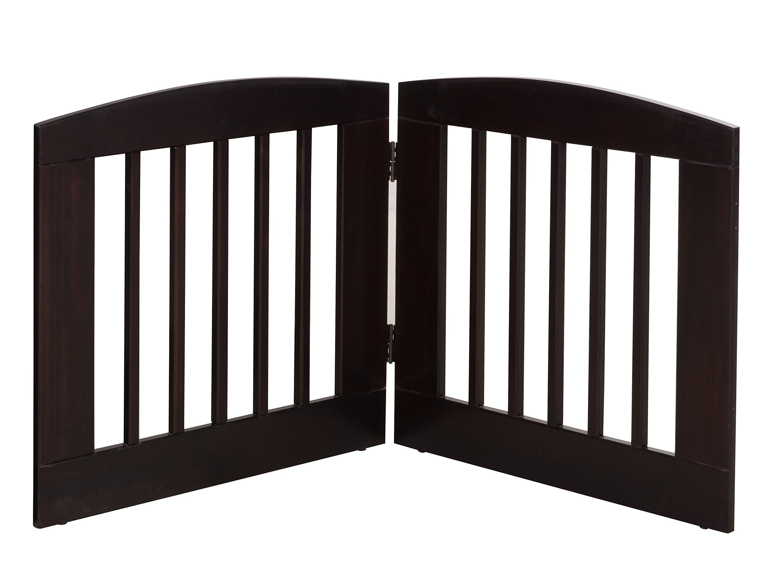 BarkWood Pets Freestanding Pet Gate with Two 24''W x 24''H Folding Wood Panels, Cappuccino