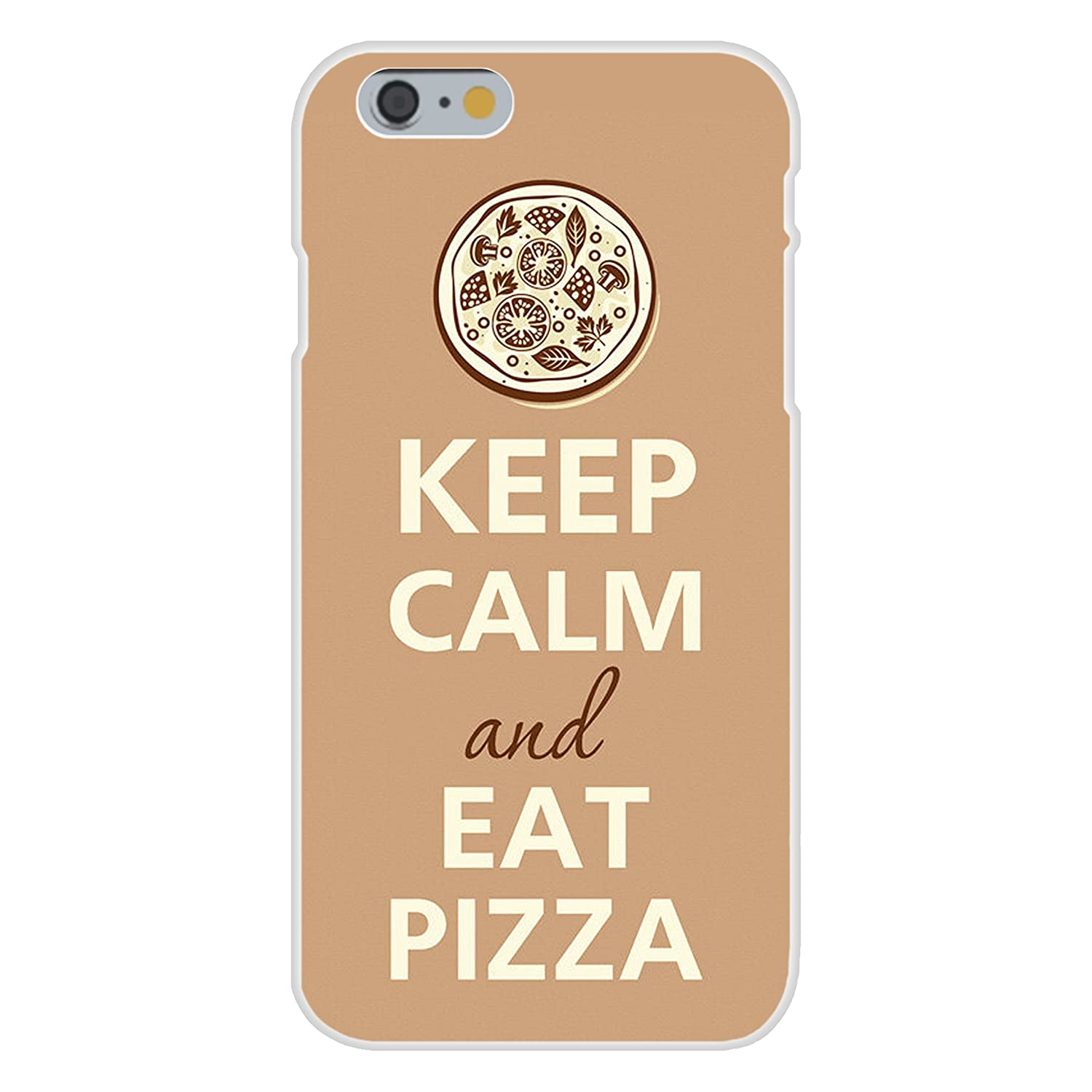 Apple iPhone 6+ (Plus) Custom Case White Plastic Snap On - Keep Calm and Eat Pizza