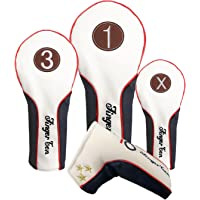 Finger Ten Golf Headcover Driver Fairway Putter Rescue for Wood Set Golf Club Head Cover, Deluxe Synthetic Leather Water-proof