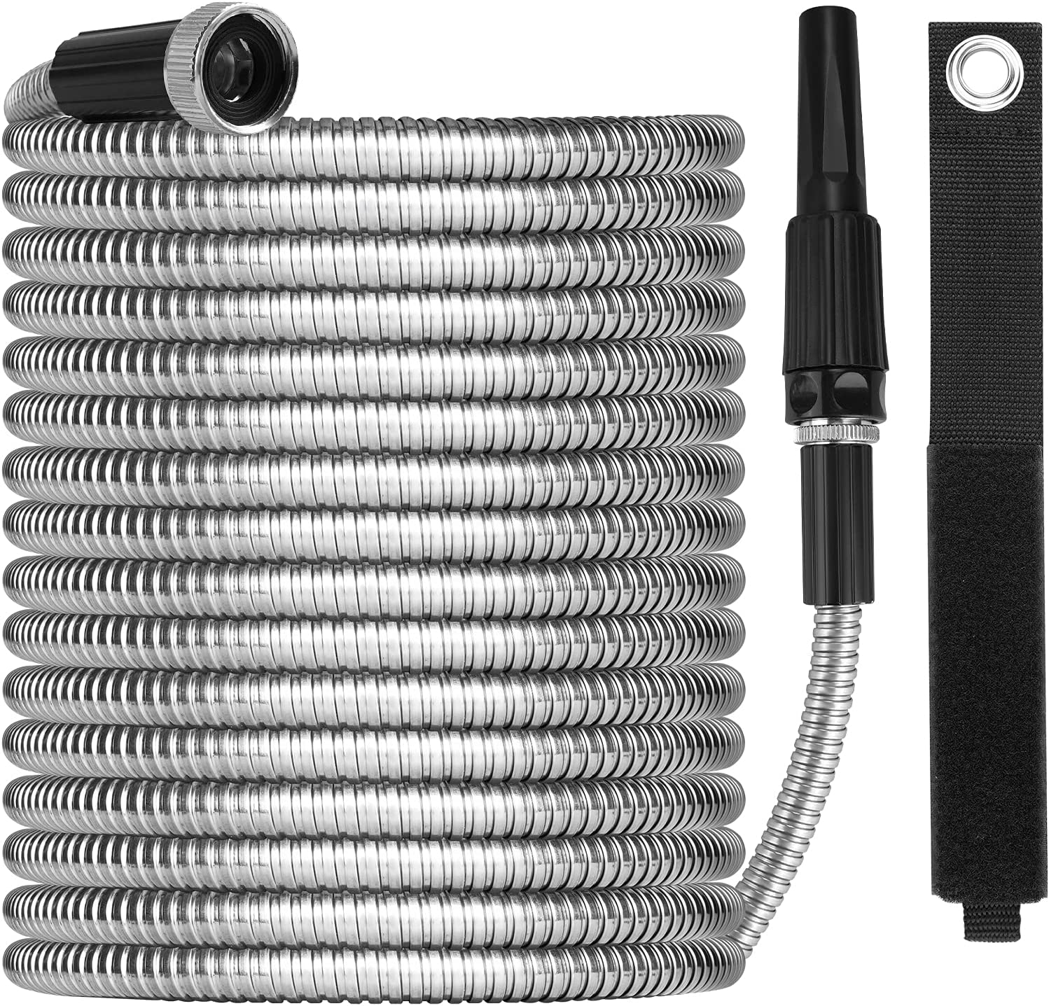 Metal Garden Hose 100ft with Super Tough and Soft Water Hose, Household Stainless Steel Hose, Durable Metal Garden Hose with Adjustable Nozzle, No Kinks and Tangles, Easy to Store with Storage Strap