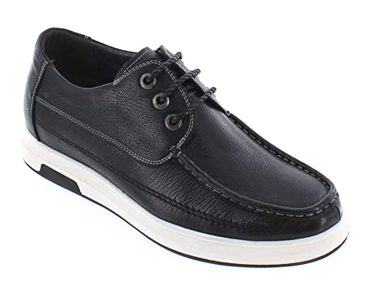 J93011-2.4 inches Taller - height Increasing Elevator Shoes - Black Leather Lace-up Casual Shoes