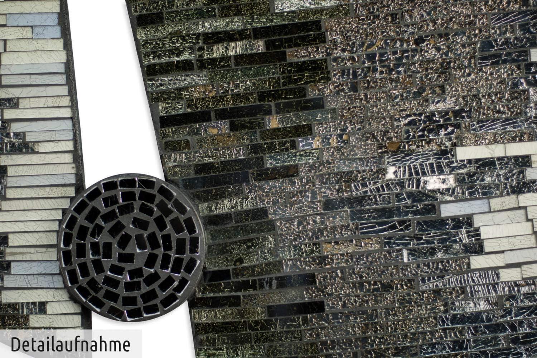Quadro da Parete plastico murale KunstLoft Stravagante Mosaico in Vetro Acrilico Earth/'s Division 61x61x3cm Terra Marrone Cerchio Decorazione Parete XXL Design Fatta a Mano