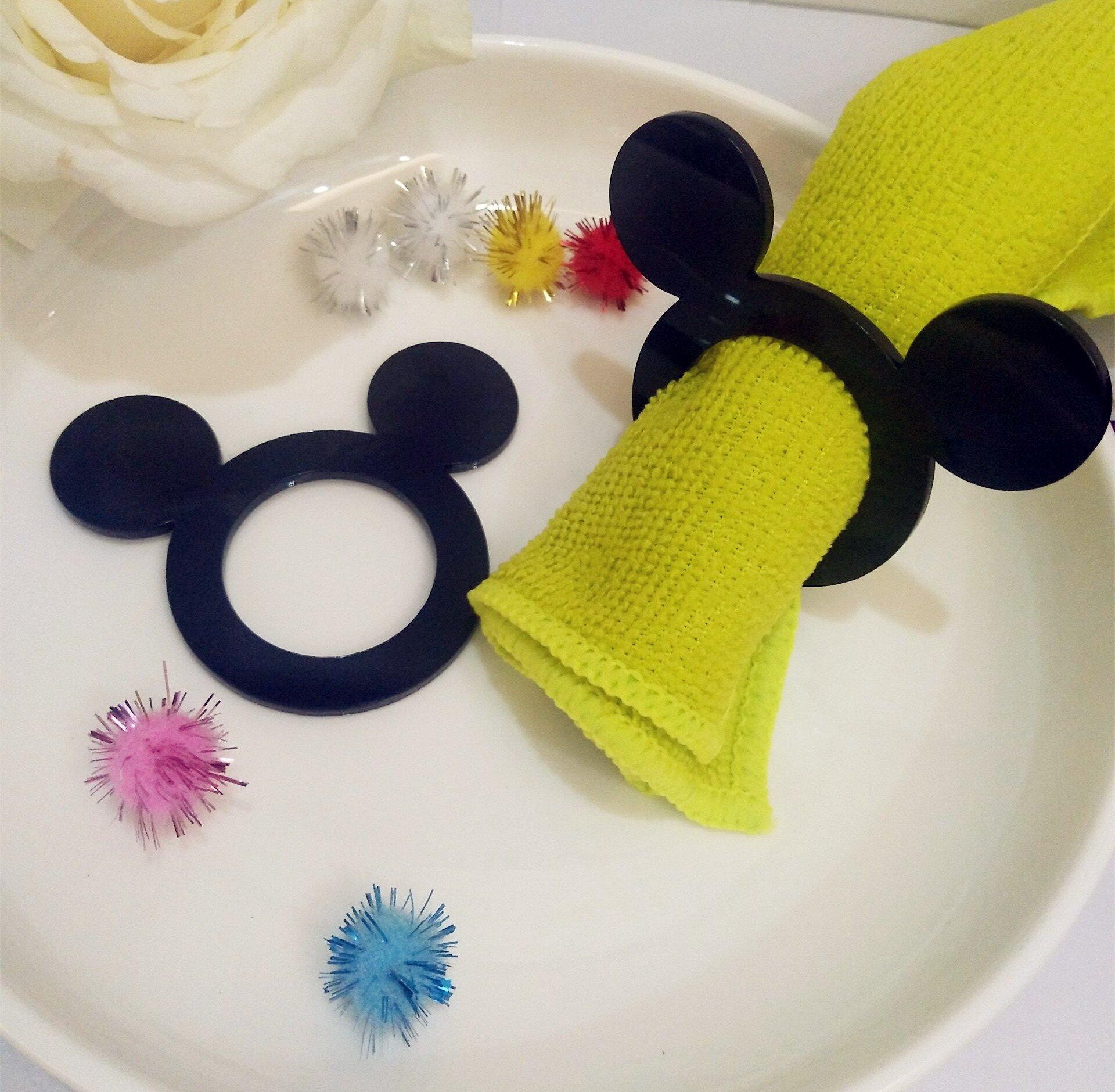 RUIXUAN Mickey Napkin Rings,Set of 12PCS Cartoon Acrylic Black Napkin Rings,Wedding Party Decor, Birthday Party Table Decor