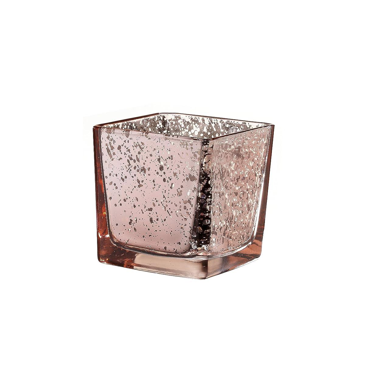 V-More Square Cube Mercury Glass Candle Holder, Votive Candle Holder, Tealight Holder, Flower Vase, 3.15-inch Tall, For Home Decor, Wedding, Party, Celebration (Set of 6, Rose Gold)