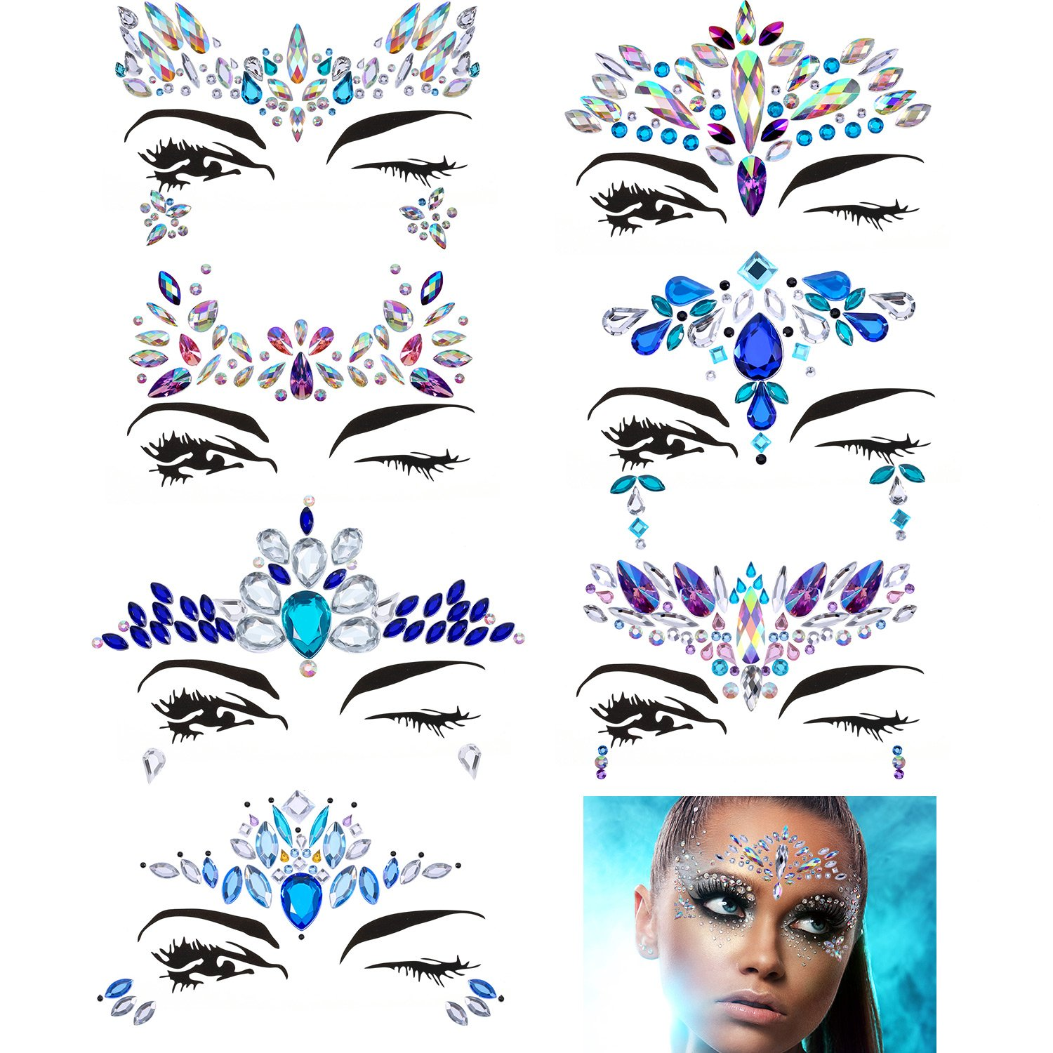 Maxdot 8 Sheets Rhinestone Face Gems Sticker Face Jewels for Face Decorations (Pattern Set 1)