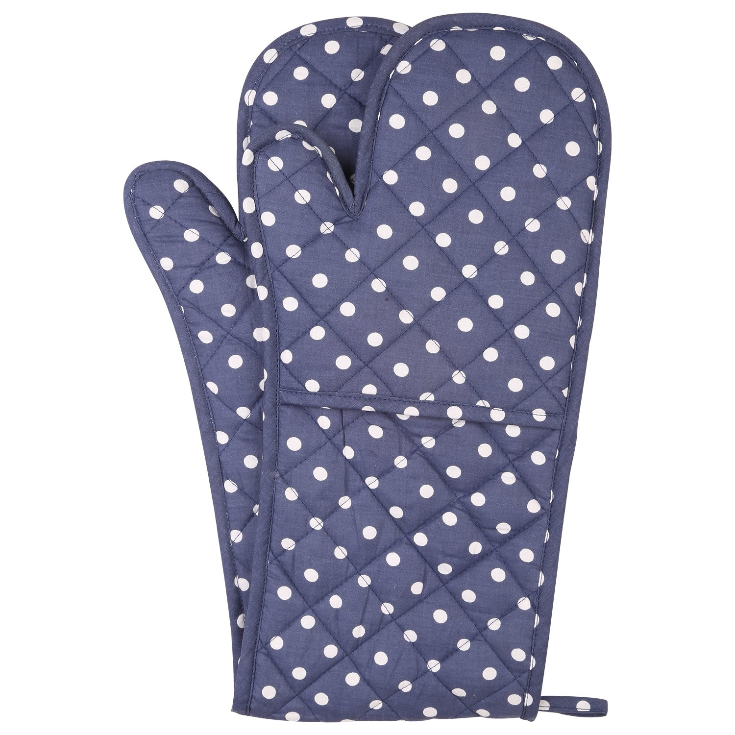NEOVIVA Cotton Quilted Double Oven Glove, Polka Dots Crown Blue