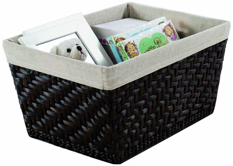 ad84e267289b Compactor Home RAN6509 Mambo Panier avec Tissu en Lin Moyen Modèle Jonc  Tressé et Lin Chocolat  Amazon.fr  Cuisine   Maison