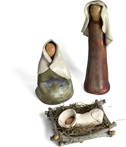 PotTerre Raku Pottery Holy Family Nativity Set