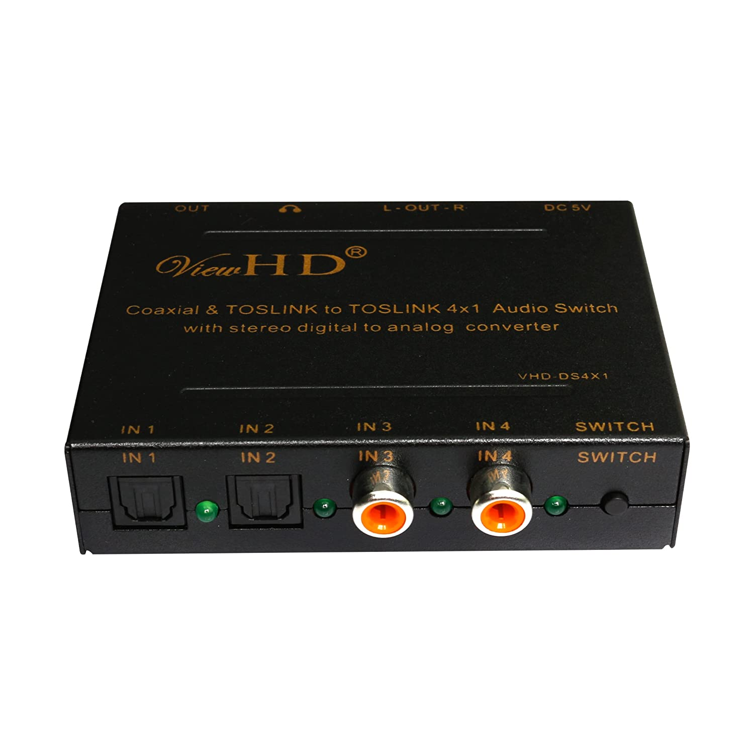 Amazon.com: ViewHD Digital Audio 4x1 Switch | (TOSLINK x2 & Coaxial x2) to TOSLINK + Analog L/R + Stereo Headphone Outputs | Model: VHD-DS4X1: Electronics
