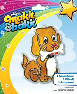 Colorbok Makit & Bakit Suncatcher Kit Stained Glass Puppy Bone