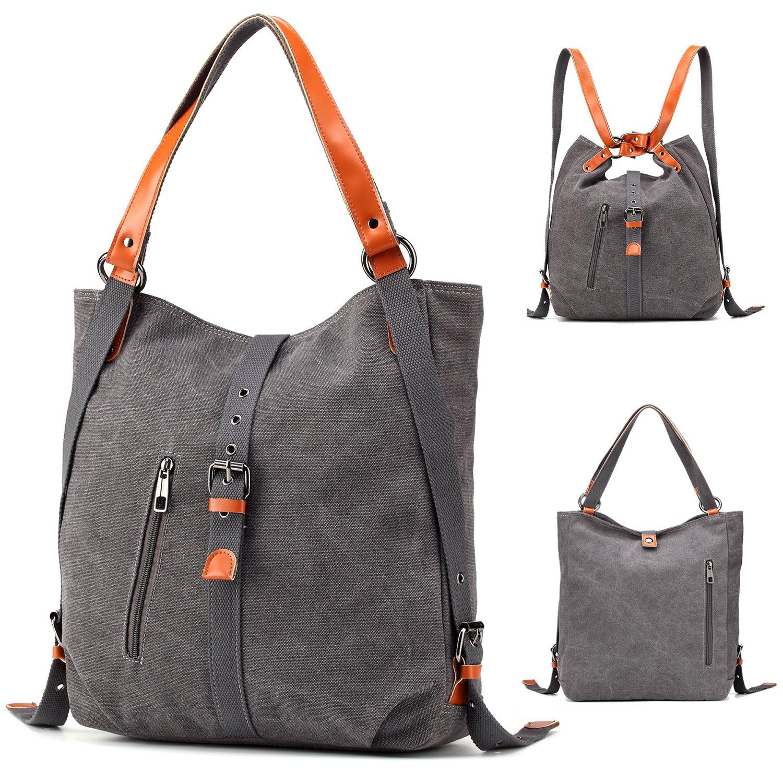 Womens Shoulder Bag Canvas Multifunctional Backpack Purse Rucksack Convertible bag Crossbody Casual Tote Handbag Satchel for Ladies Girls Travel Daypack(Grey)