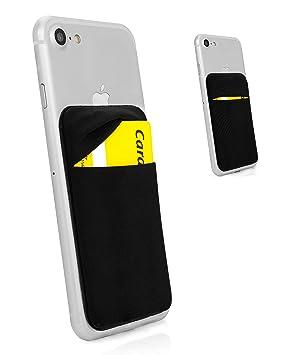 MyGadget Funda Cartera con 1 Bolsillo para Móvil Smartphone - Adhesiva Universal - Suave Estuche para Tarjetas de Crédito Bloqueo RFID - Negro