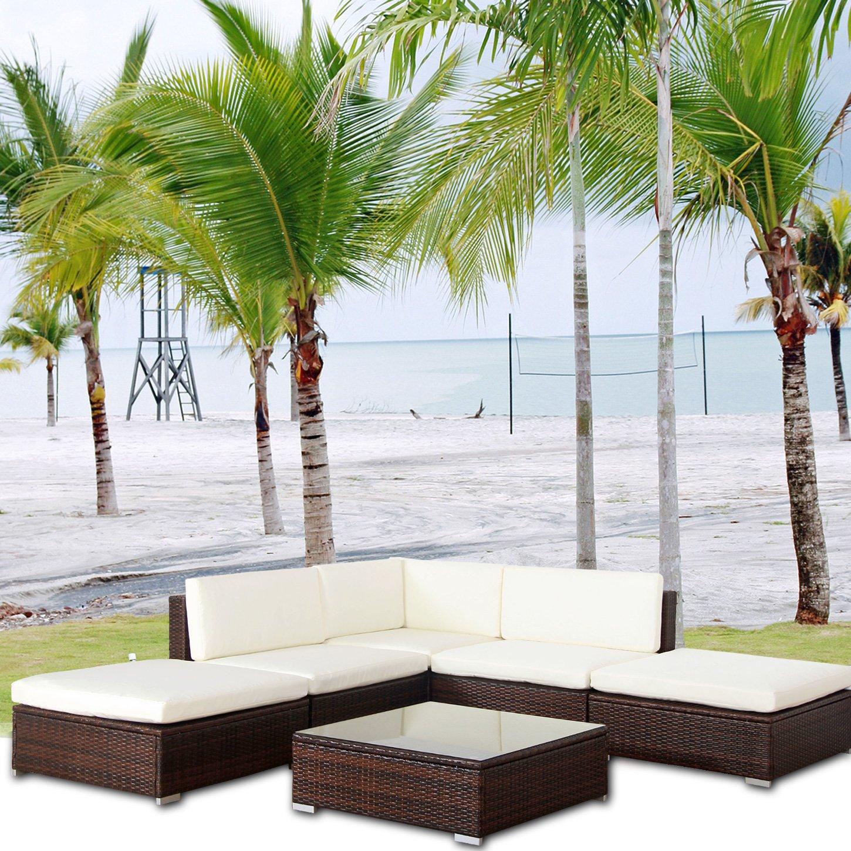 Amazon.de: MALIBU POLY RATTAN Lounge Braun Aluminium Sofa Garnitur ...