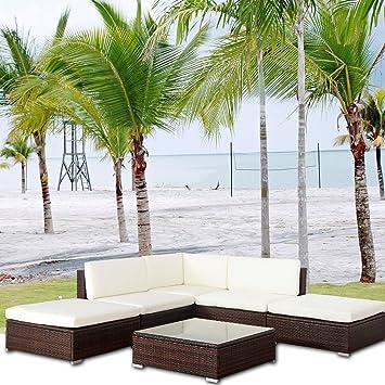 Amazon De Malibu Poly Rattan Lounge Braun Aluminium Sofa Garnitur