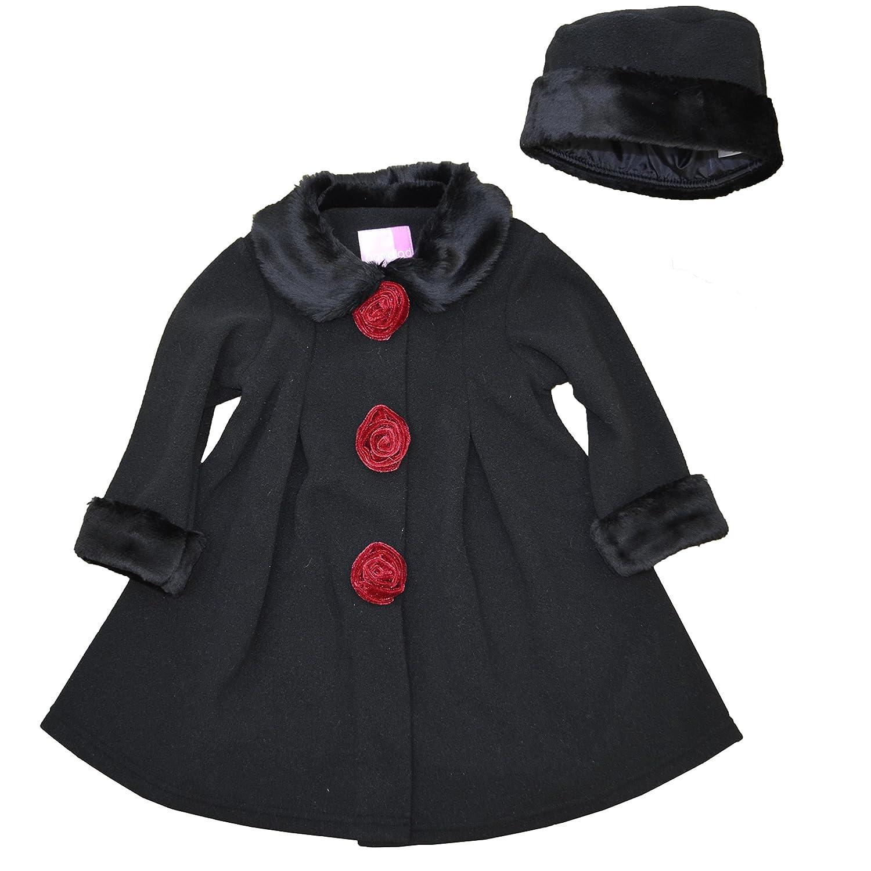 Good Lad Black Fleece Coat with Fur Trim & Matching Hat 16463XF3-PARENT