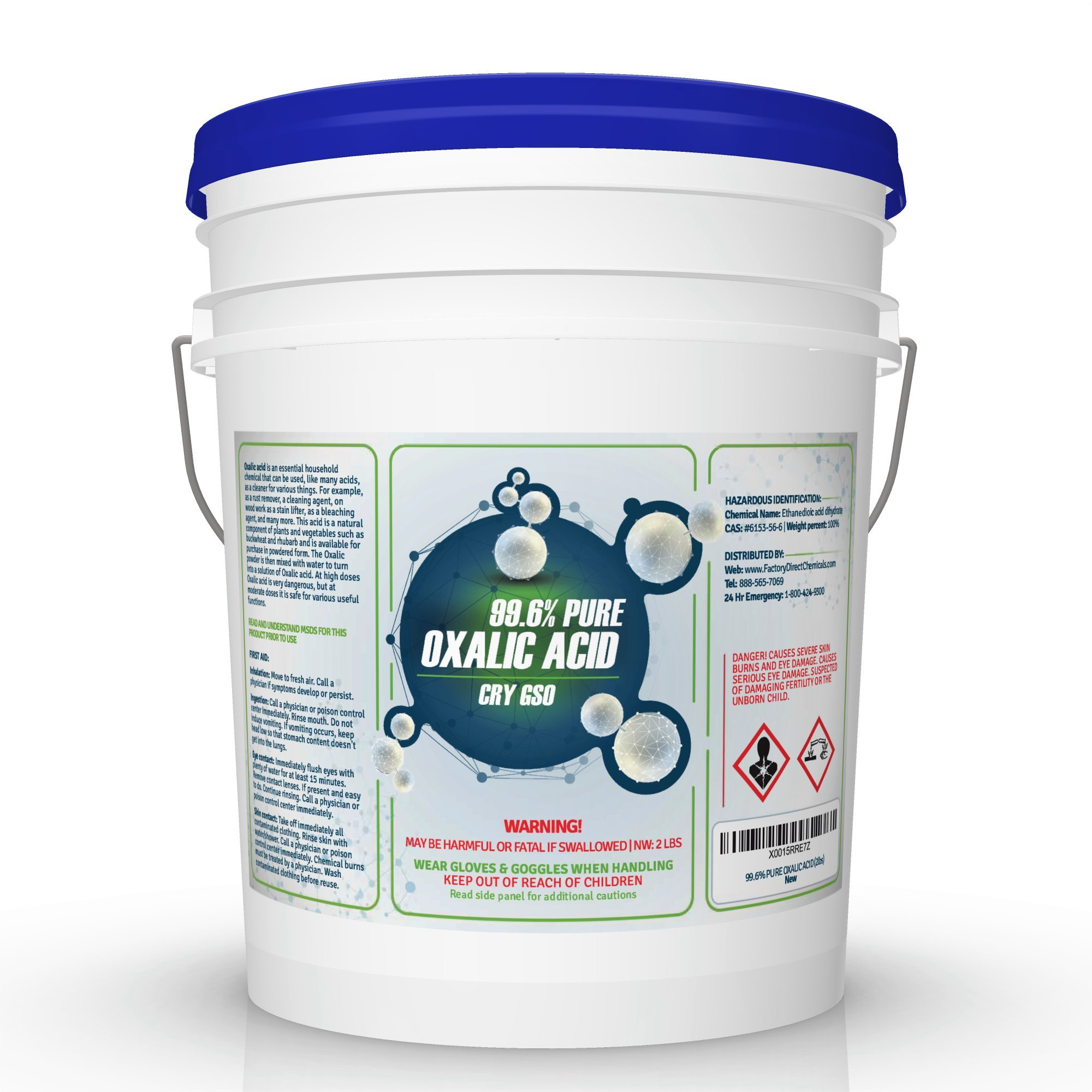 99.6% PURE OXALIC ACID Powder C2H2O4 (Ethanedioic Acid Dihydrate) Rust Remover, Bleaching Agent, Wood Stain Remover & More! (40 Pound Pail)