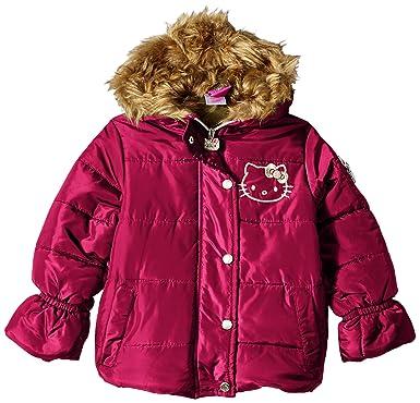 87dc4c045 Hello Kitty Girls' Little Printed Puffer Jacket with Fur Trim Hood,  Burgundy, ...
