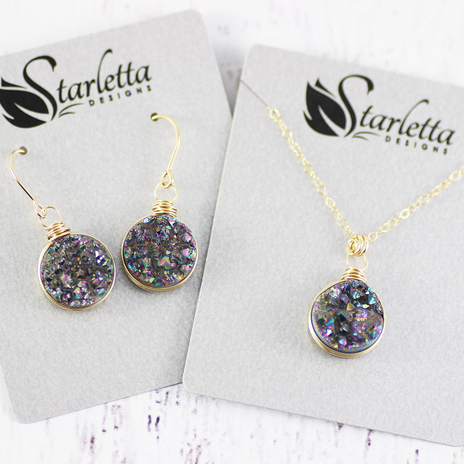 Rainbow Druzy Geode Gold Filled Pendant Necklace and Earrings Gift Set