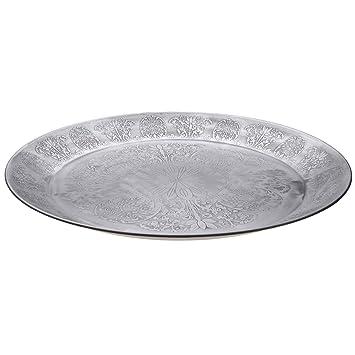 Orientalisches Rundes Tablett Aus Metall Suad 50cm Marokkanisches