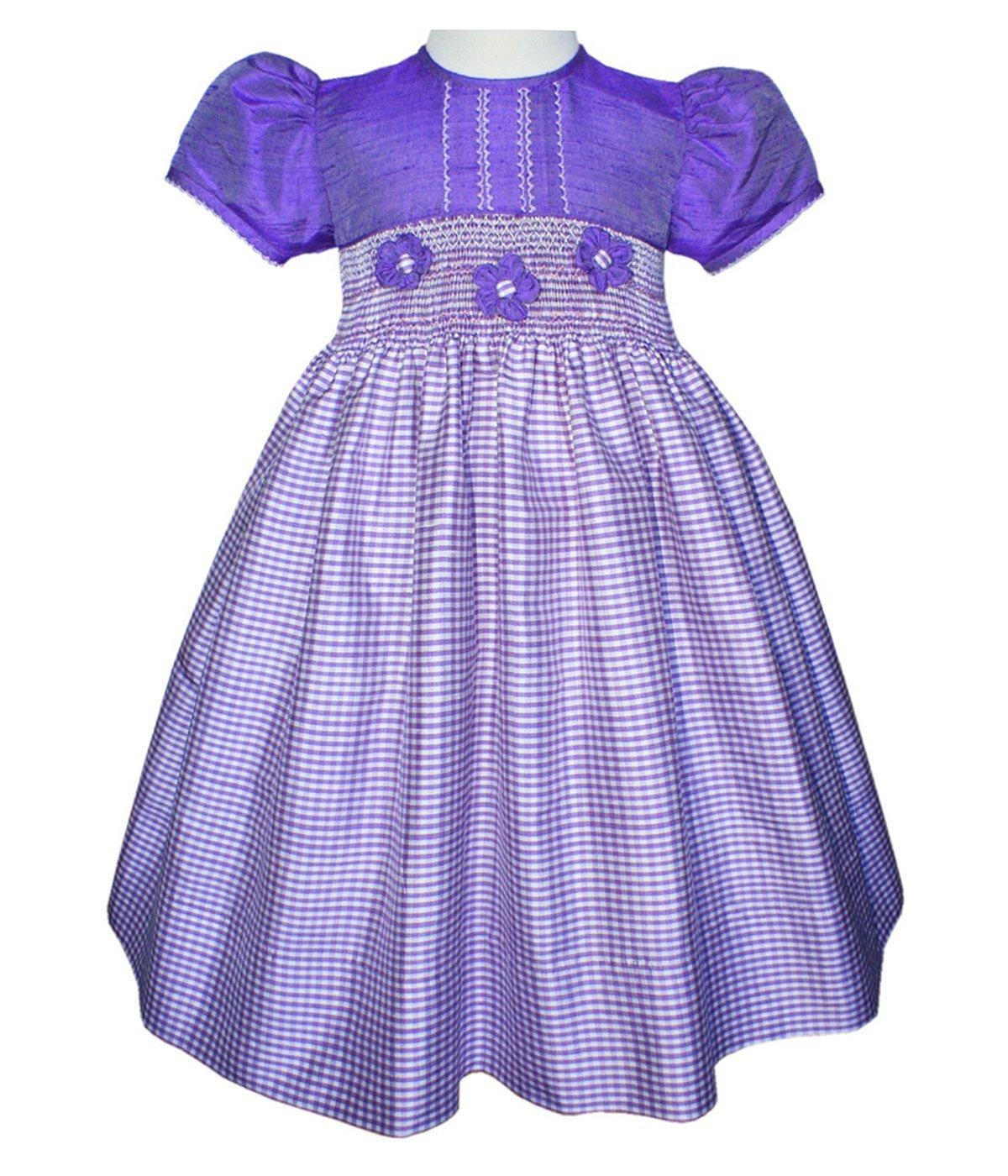 Flower Girls Dress for Walking Down the Isle in Purple Silk by Carouselwear (Image #1)