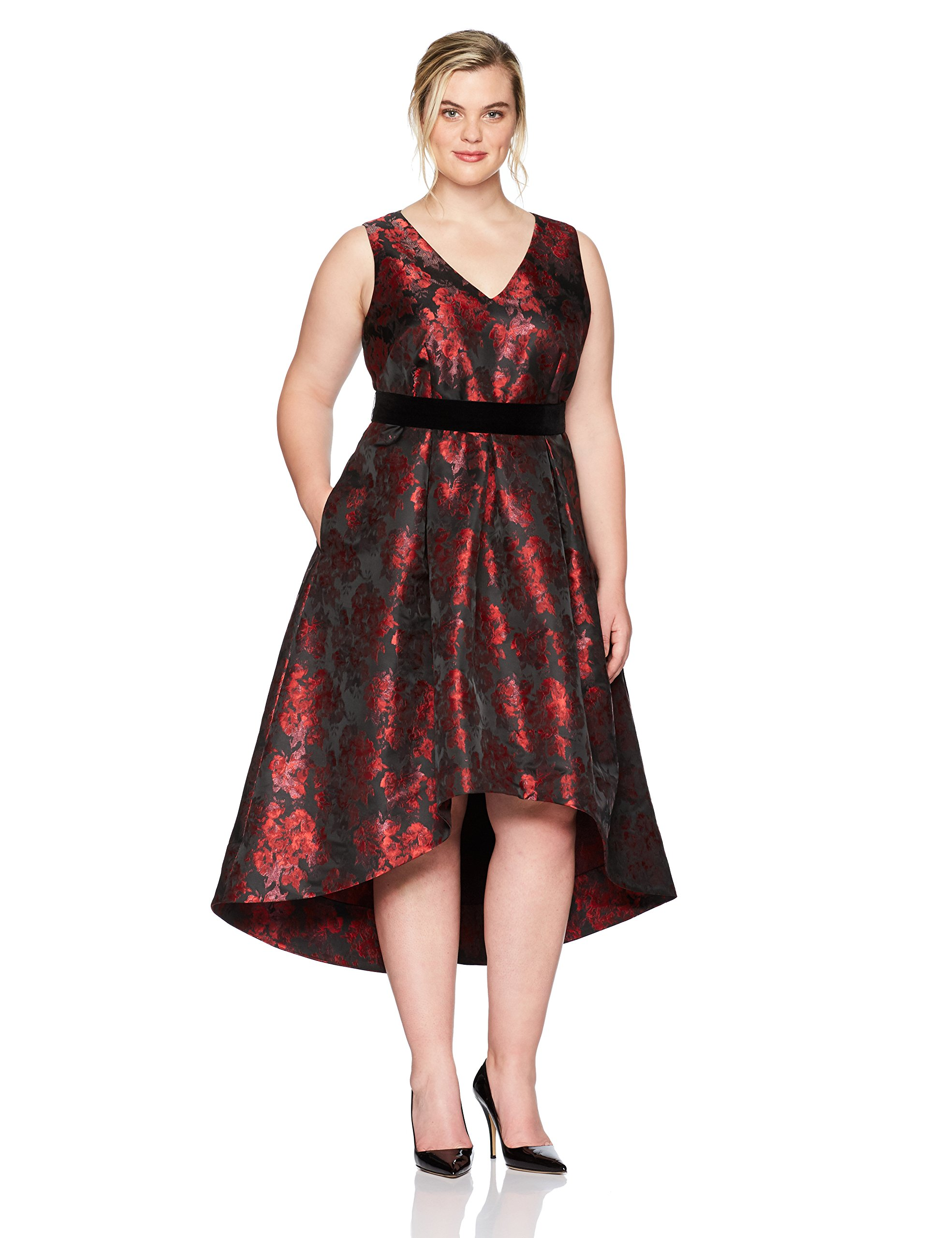 Eliza J Women's Plus Size Floral Fit and Flare Dress, Black/Red, 22W