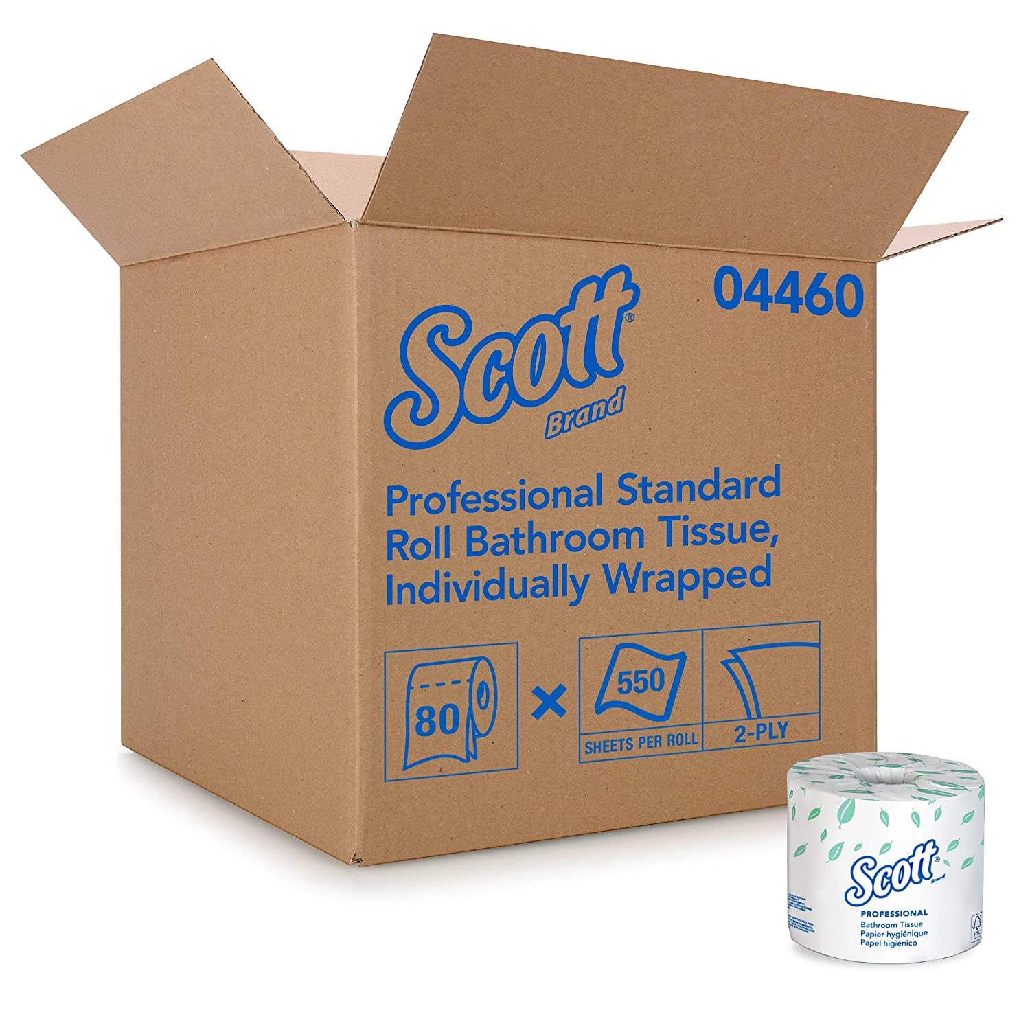 Scott Essential Professional Bulk Toilet Paper for Business (04460), Individually Wrapped Standard Rolls, 2-PLY, White, 80 Rolls / Case, 550 Sheets / Roll: Industrial & Scientific