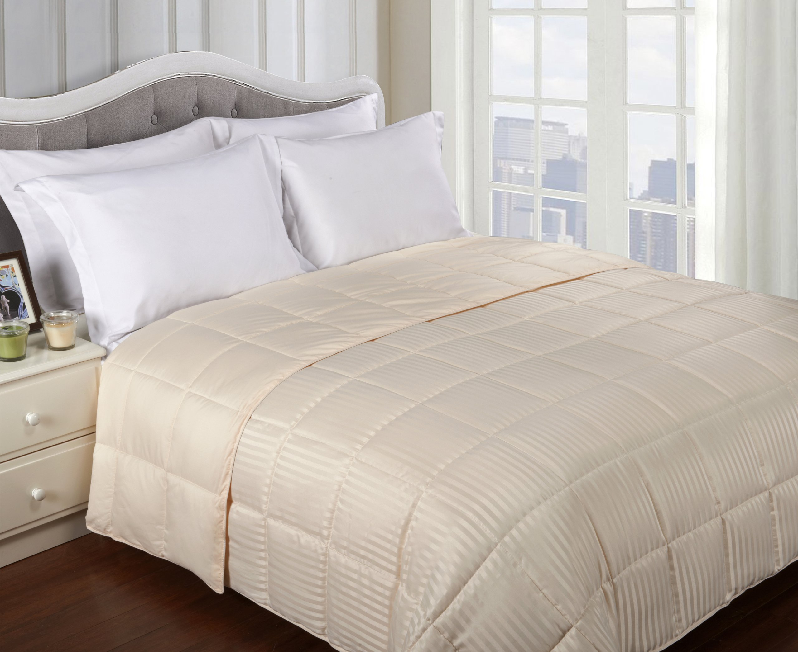 Superior Reversible Down Alternative Polyfill Blanket with Striped Microfiber Shell - Full/Queen, Ivory