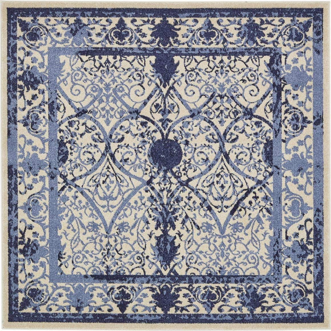 Unique Loom La Jolla Collection Tone-on-Tone Traditional Ivory Blue Square Rug 6 0 x 6 0