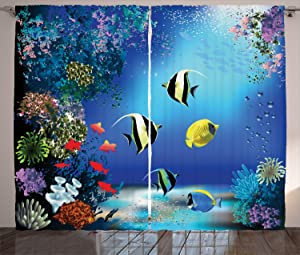Ambesonne Underwater Curtains, Tropical Undersea Colorful Fishes Swimming in The Ocean Coral Reefs Image, Living Room Bedroom Window Drapes 2 Panel Set, 108