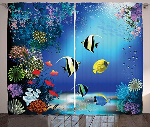 Ambesonne Underwater Curtains, Tropical Undersea with Colorful Fishes Swimming in The Ocean Coral Reefs Image, Living Room Bedroom Window Drapes 2 Panel Set, 108 X 90 , Blue Navy
