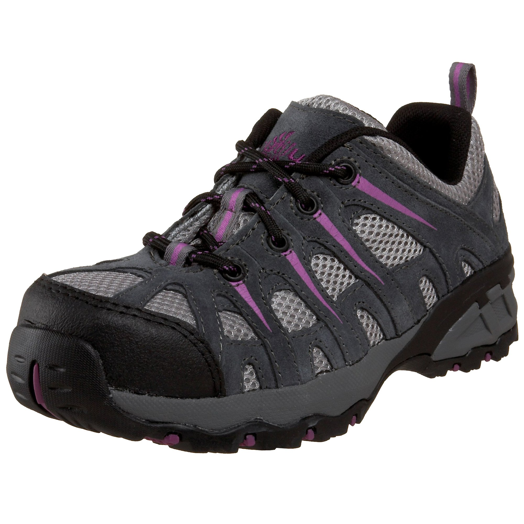 Nautilus 1754 Women's Comp Toe No Exposed Metal EH Athletic Shoe,Grey/Lavender,7 M US by Nautilus Safety Footwear