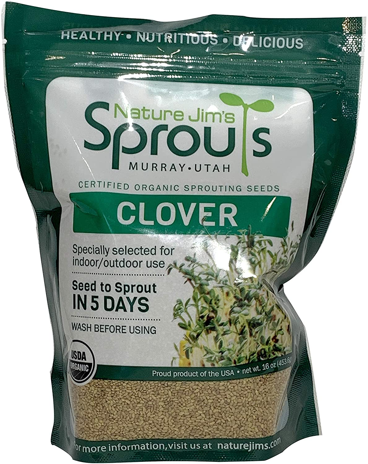 Nature Jims Clover Sprout Seeds – 16Oz Organic Sprouting Seeds – Non-GMO Premium Clover Seeds – Resealable Bag for Longer Freshness – Rich in Vitamins, Minerals, Fiber