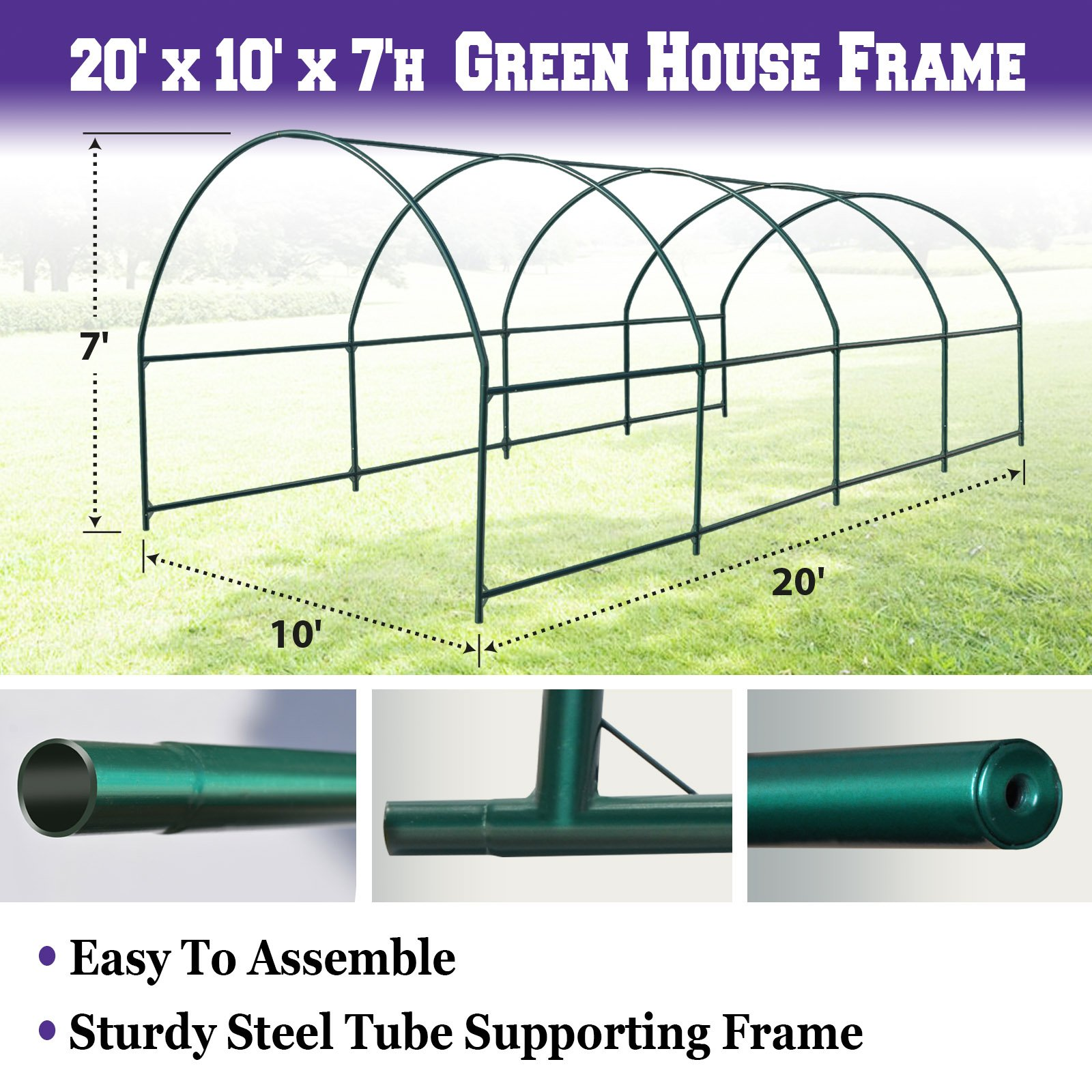 BenefitUSA Green House Replacement Spare Parts for 20'X10'X7'H Walk In Outdoor Plant Gardening Greenhouse (Frame)