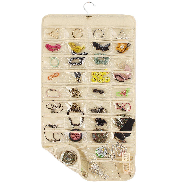 Onepalace Hanging Jewelry Organizer Revolving Hanger 80 Pocket Two-side Pockets Foldable Storage & Display Earrings Necklace Bracelet (Beige)