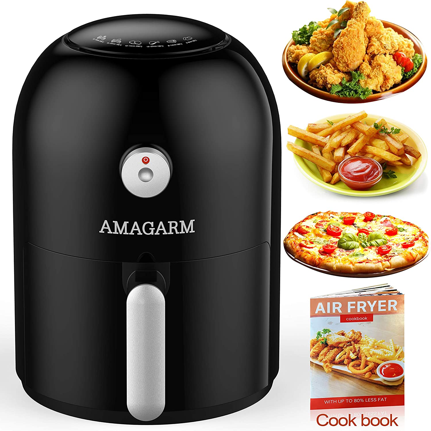 Updated 2019 Version Compact Air Fryer 1.6 Quart, 800 Watt Electric Air Fryer Oven Cooker with Temperature Control, Non Stick Fry Basket, Recipe Guide + Auto Shut off Feature