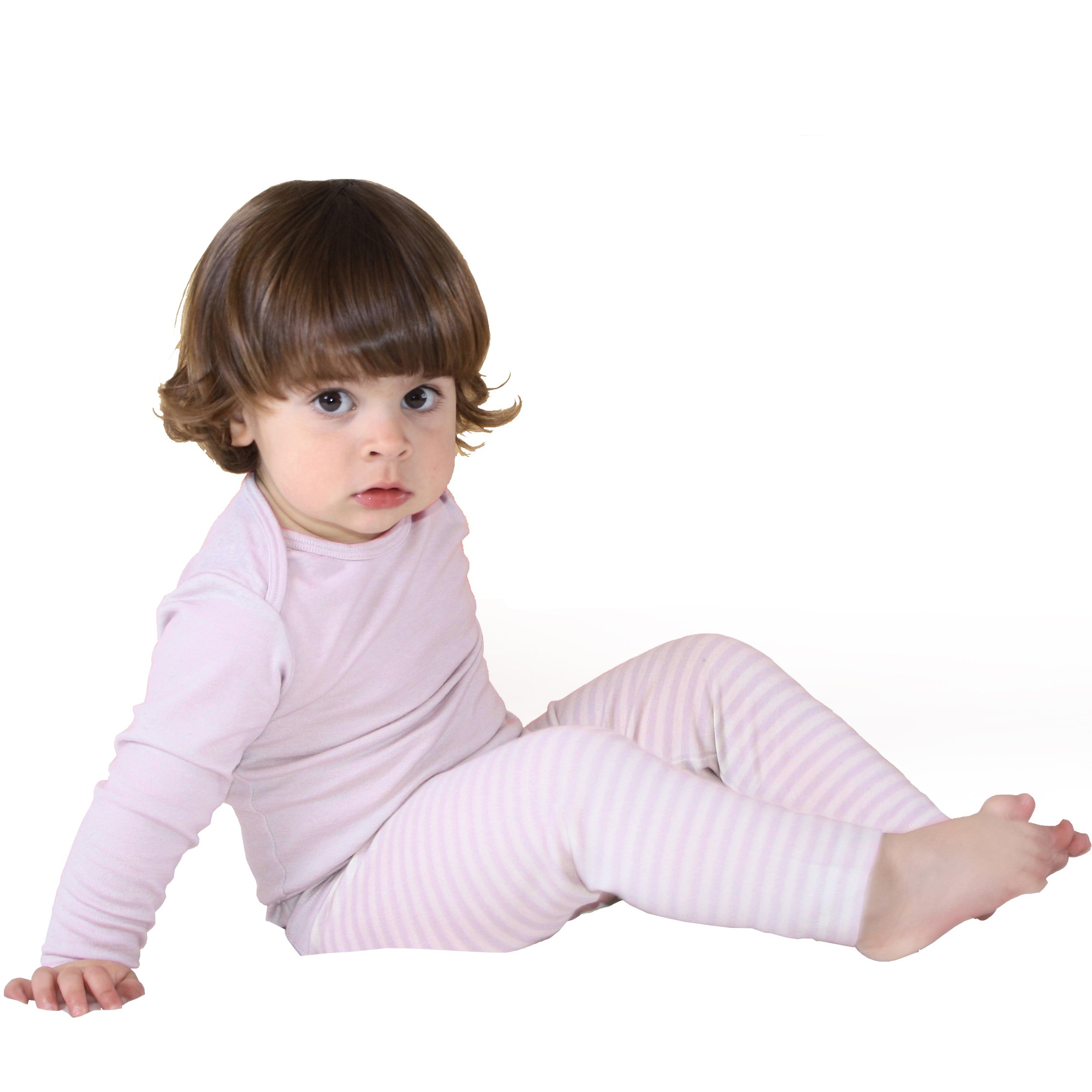 Woolino Baby Girls Pajama Set, Long Sleeve, Merino Wool, 3-4 Years, Lilac