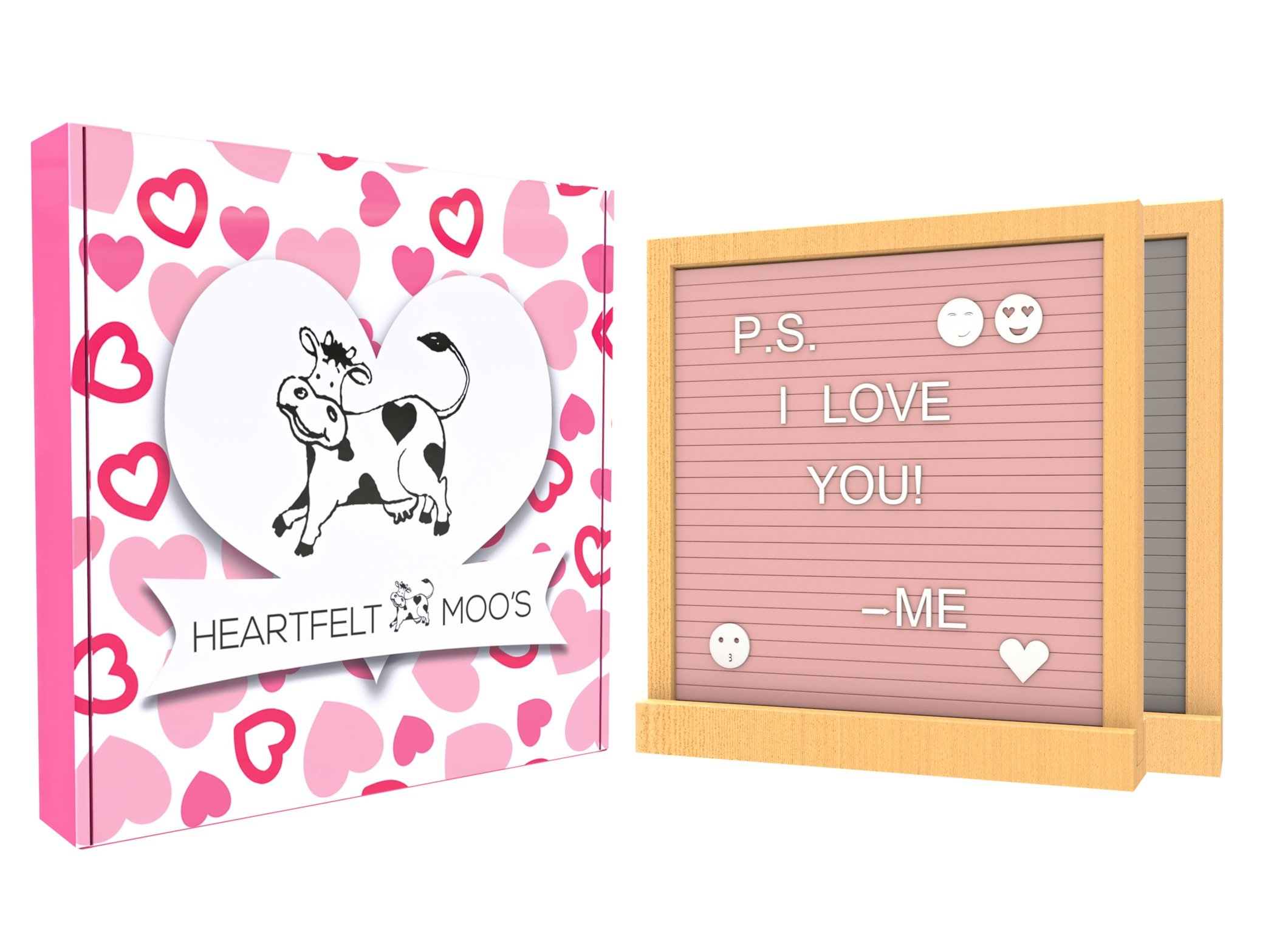 Felt Board Letter Board Double Sided (Pink & Grey) with 720 Letters, Numbers, and Emojis! Beautiful Gift Box Included! by Heartfelt Moo's