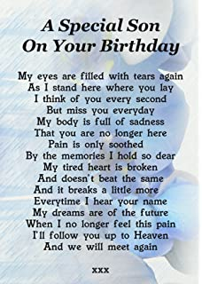 A Special Son On Your Birthday Memorial Graveside Poem Keepsake Card Includes Free