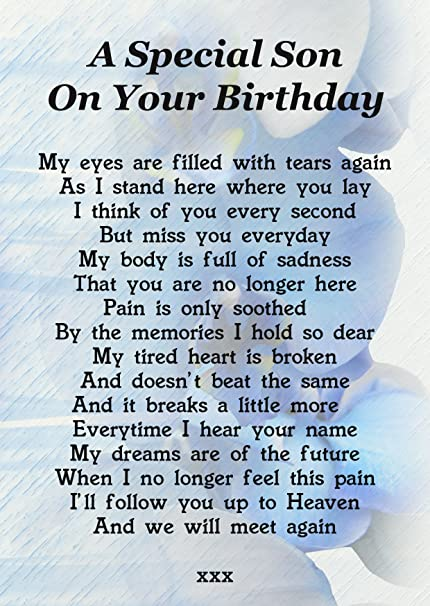 A Special Son On Your Birthday Memorial Graveside Poem Keepsake Card Includes Free Ground Stake F189 Amazoncouk Kitchen Home